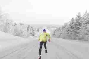 running in the cold and snow
