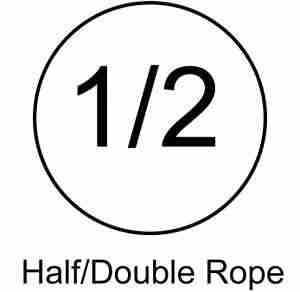 saftey symbol for certified half rope for rock climbing