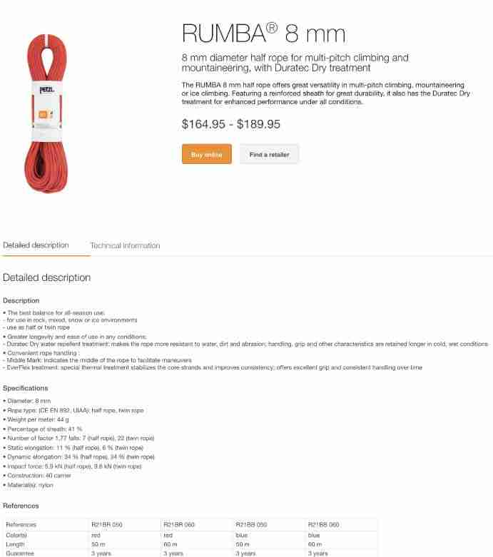 Petzl Dynamic Climbing Rope Label And Specifications