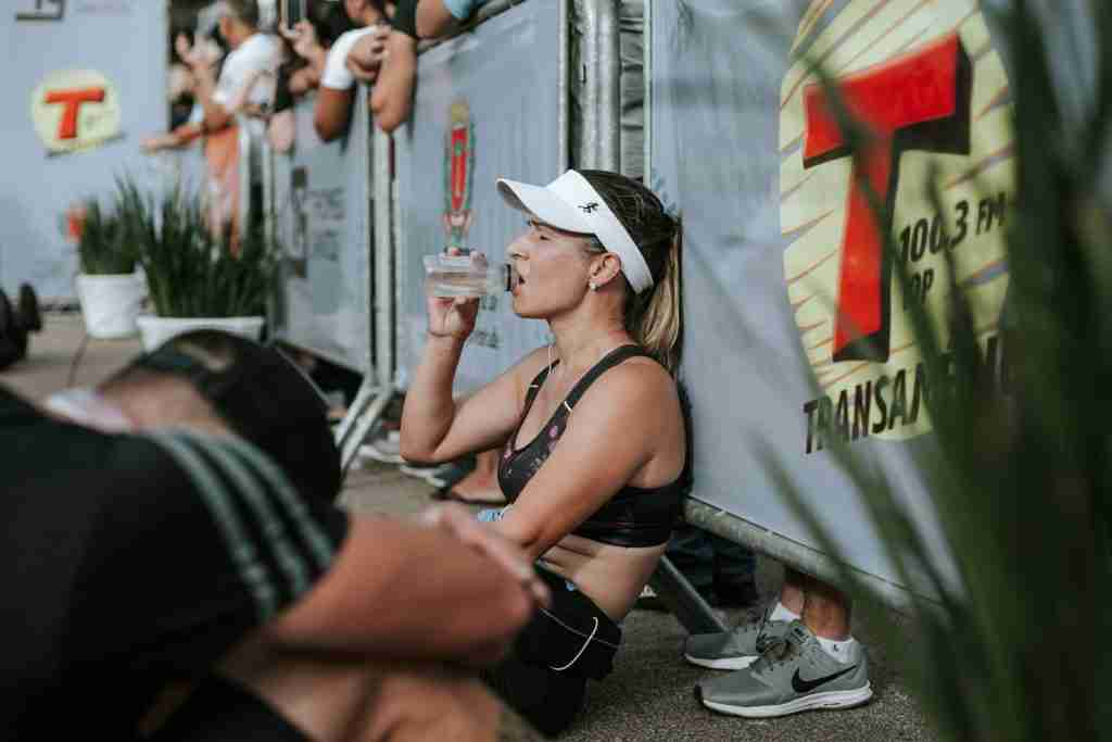 Runner Drinking Water During 100 Mile Race