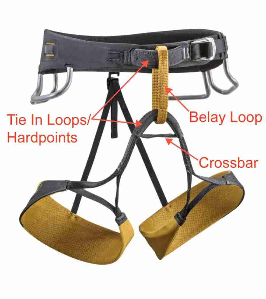 Choosing A Climbing Harness: Belay Loop & Hardpoints Diagram