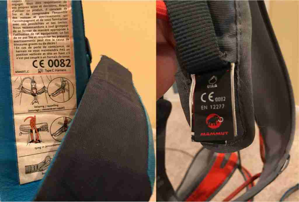 Climbing Harness Safety Standard Labels CE 0082 & EN 12277