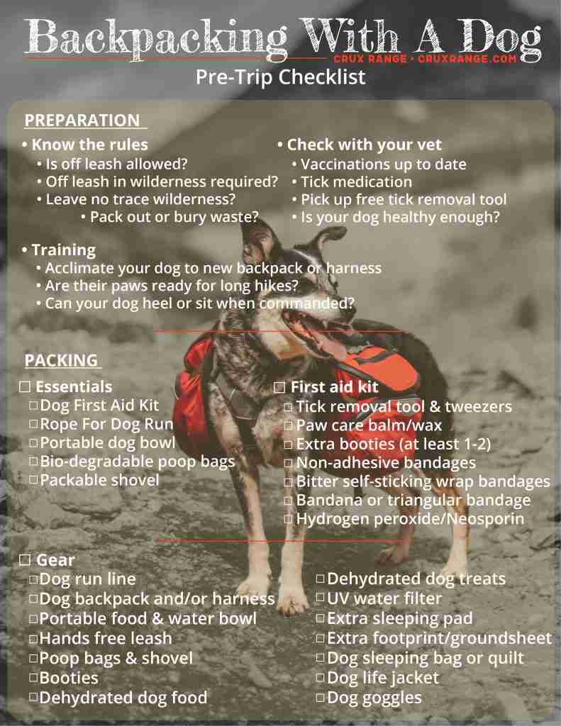 Backpacking With A Dog Pre-Trip Checklist - Crux Range