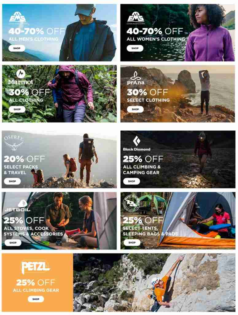 EMS Discount Outdoor Gear Deals Page