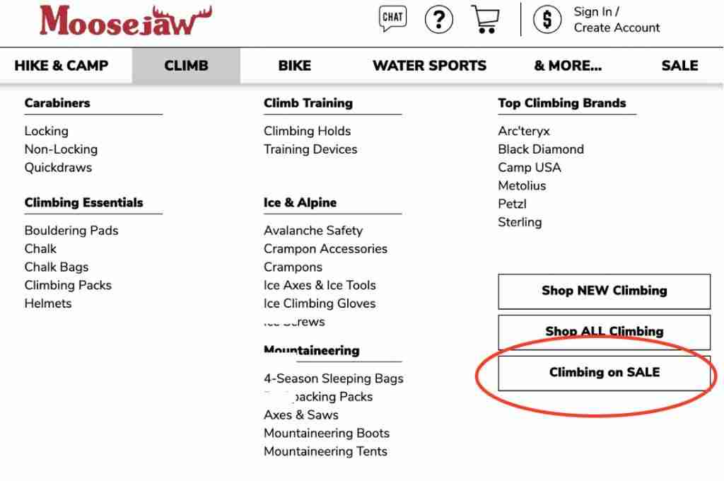 Moosejaw Shop By Sale Items Page