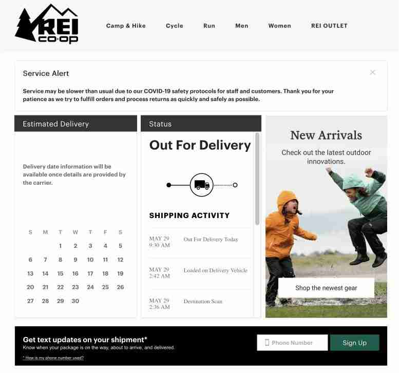 REI Outdoor Gear Store Shipping Page